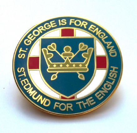 """St Edmund For The English"" Lapel Badge - Blue"